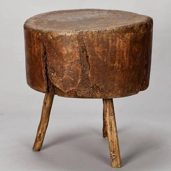 19th Century Primitive Round Butcher Block Table 6865