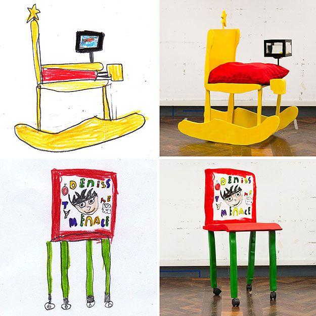 Desenhos de crianças são inspiração para tudo! ideia linda demais!  Cadeiras desenhadas por crianças são transformadas em objetos reais de decoração... imagina isso em roupas, sapatos, brinquedos...