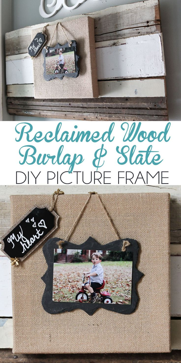 Burlap and slate picture frame on reclaimed wood tutorial by Unskinny Boppy
