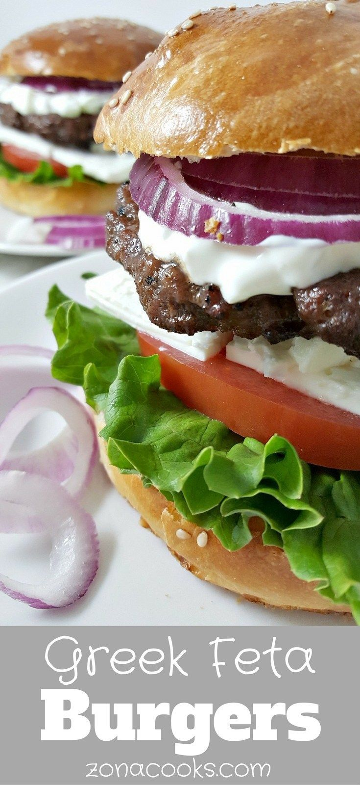 Greek Feta Burgers are big, delicious, juicy and beefy topped with lettuce, tomato, feta cheese, red onion, and a creamy cucumber sauce. This small batch recipe serves 2 and makes a great lunch, dinner, or romantic date night meal. Easy and quick, ready in just 15 minutes.