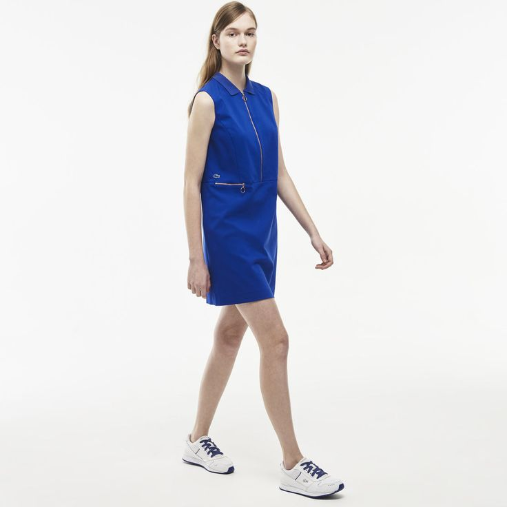Lacoste LIVE sleeveless polo dress in double knit stretch fabric