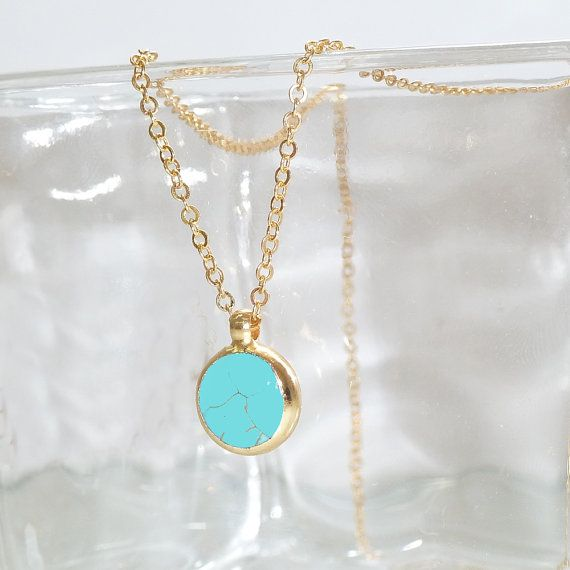 Turquoise  Necklace, December Turquoise Birthstone, Minimalist Gemstones  Necklace Delicate 24k Gold Necklace, Bezel Set .