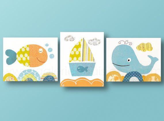 Nautical nursery whale Boat fish orange blue bathroom - ocean seaocea baby nursery kids room children art - Set of three prints