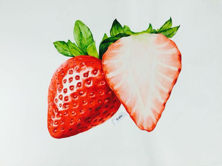 #개체표현 #입시미술 #질감표현 #미대입시 #성북창아 #색감 #coloring #drawing #기초디자인 #기초디자인개체묘사 #참고작 #미술학원 #불펌하면앙대영 #필터안먹인거임 #watercolor #watercolorpainting #strawberry #딸기질가ㅁ