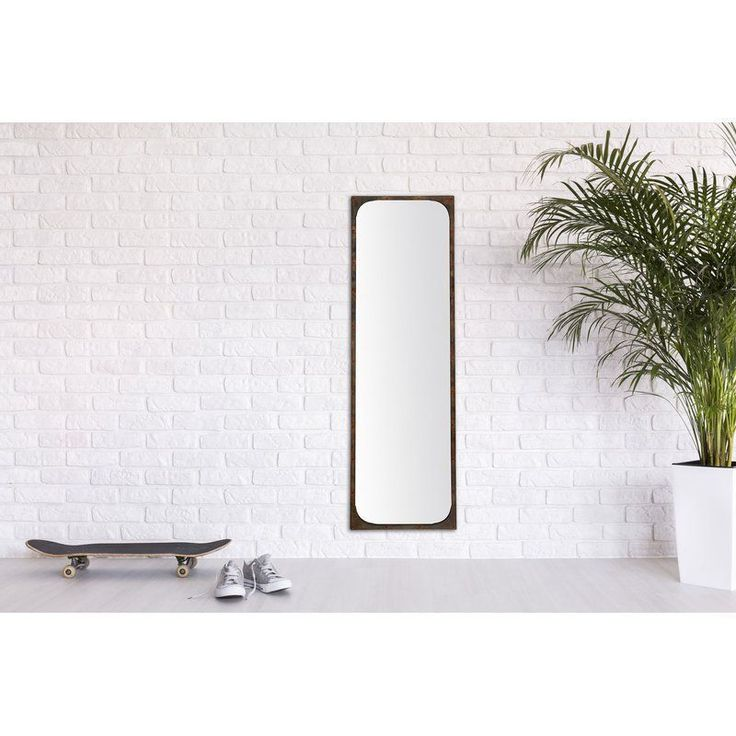 Full Length Mirror Wall Mounted Rectangle Black Metal Frame Living Room Bedroom