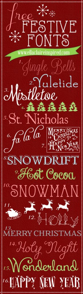 "This is just one part of a collection featuring a whopping ""100 Best FREE Holiday Fonts."" So amazing. If I can't find it here... well... might be time for medication. =)"