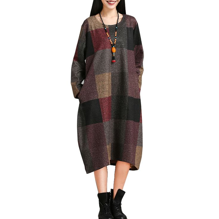 Spring Autumn Fashion Plaid Pattern Dress Comfortable Fabric Women Long Sleeve Casual Dress Plus Size Clothing Vestidos AA424