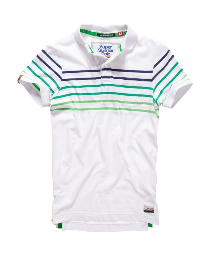 Mens - Bay Stripe Polo Shirt in Optic White Mix | Superdry