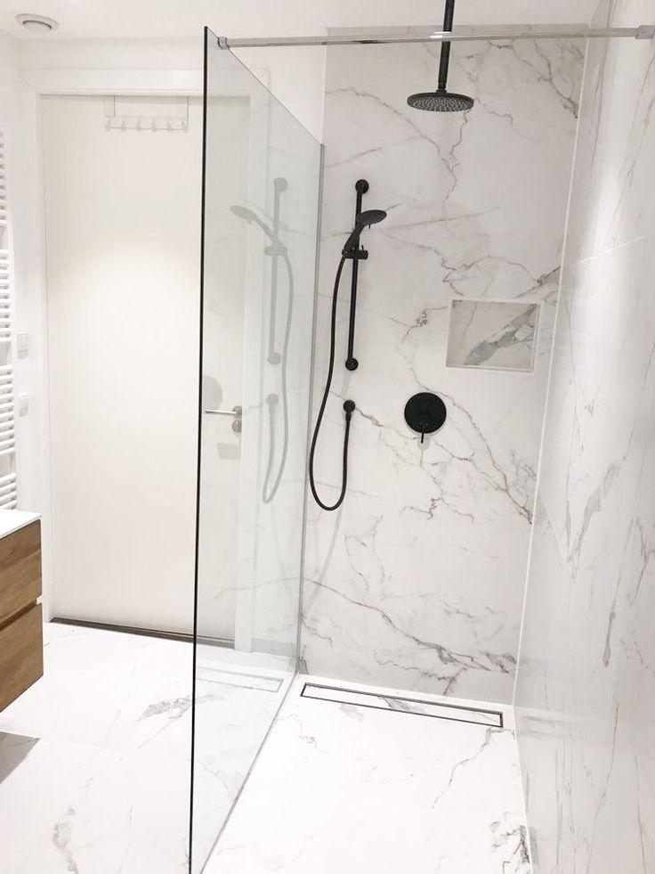 Marble and Black Bathroom
