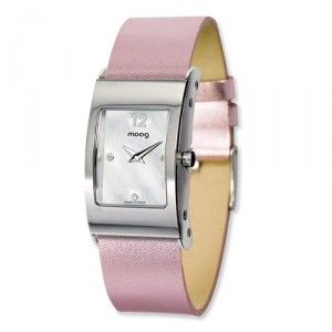 Moog Stainless Steel Rectangle Domed Watch w/(LC-05) Pink Band - SalmaWatches.com. $199.95