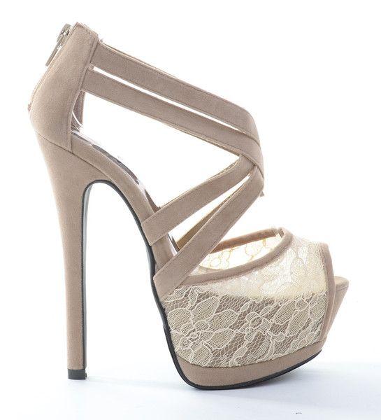 51d241c023 Amino Criss Cross Peep-Toe Lace Platform Heels