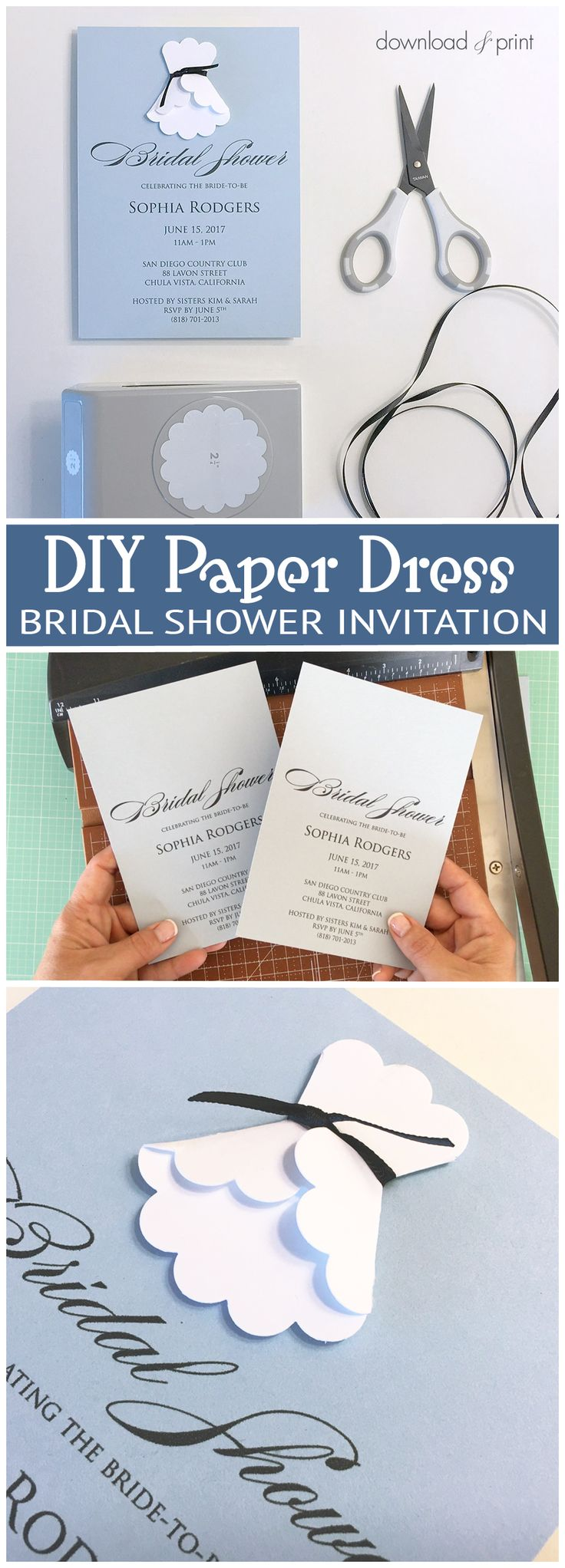 Sweet and simple bridal shower invitation with a DIY paper dress. Get the FREE printable invitation template at Download & Print.