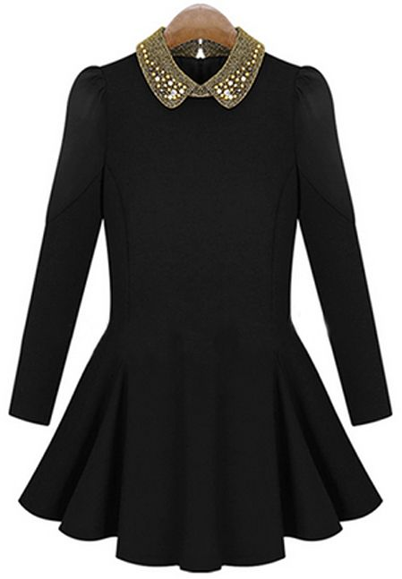 Black Bead Lapel Long Sleeve Pleated Dress US$31.00