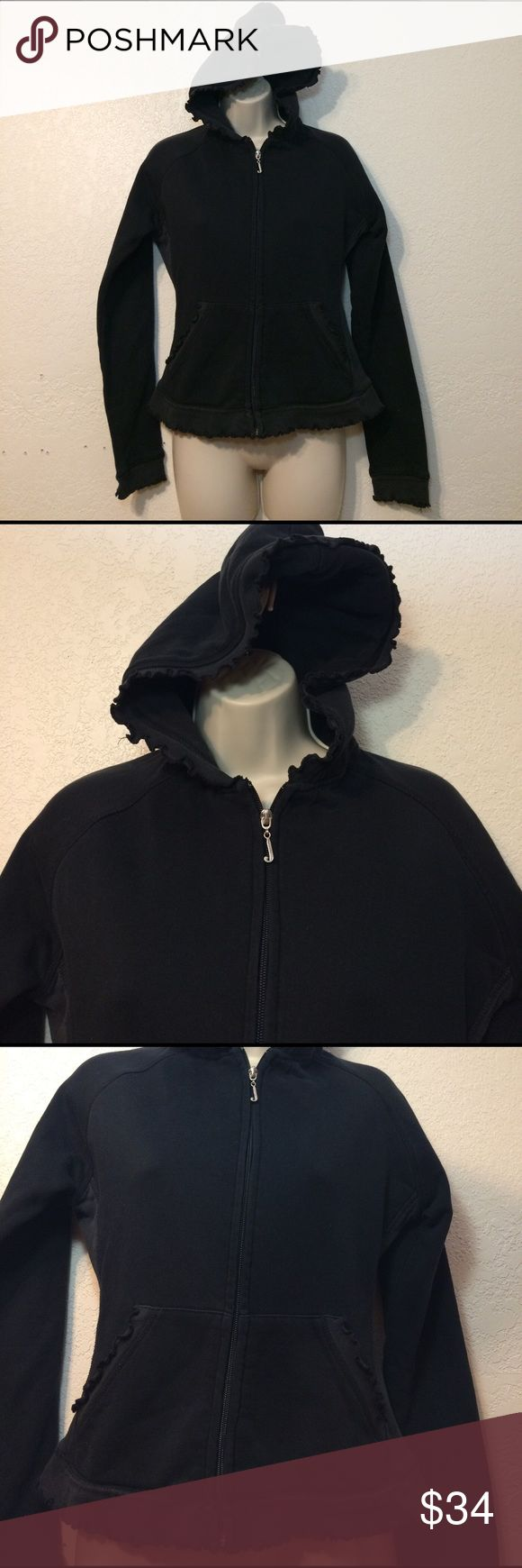 Juicy couture black full zip hoodie medium Juicy Couture Women's black long sleeve full zip up hoodie.  Ruffle embellishments around hem, 2 side pockets, back has a big cherry Print with the number 8. 100% Cotton size medium nwot Juicy Couture Tops Sweatshirts & Hoodies