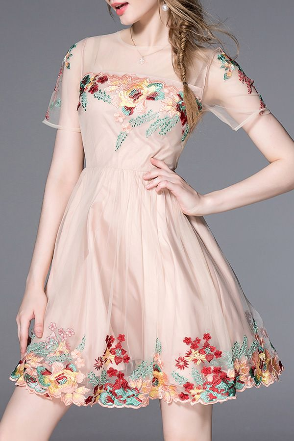 Light Pink Embroidered Floral Mesh Dress