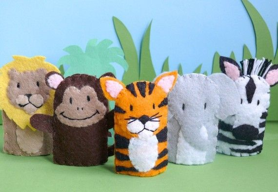 Jungle Creatures - Felt Finger Puppets. By Stay Awake and Play. #children #toy