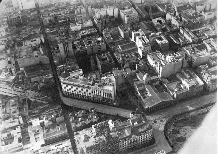 Diagonal Norte - Banco de Boston - Catedral Metropolitana (c. 1925) | Foto de Juan Bautista Borra y Enrique Broszeit – Colección Familia Borra | Historia y Arqueologia Marítima