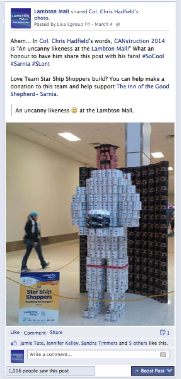 Thanks to @Chris Hadfield for helping to support #CANstruction2014! What an honour! We think there is a resemblance too ;-)  #Sarnia #SLont