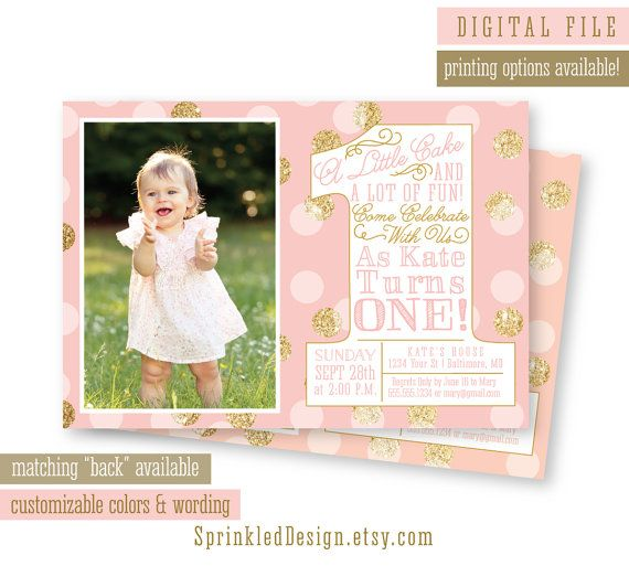 First Birthday Girl Invitation Photo Card  by SprinkledDesign, $25.00