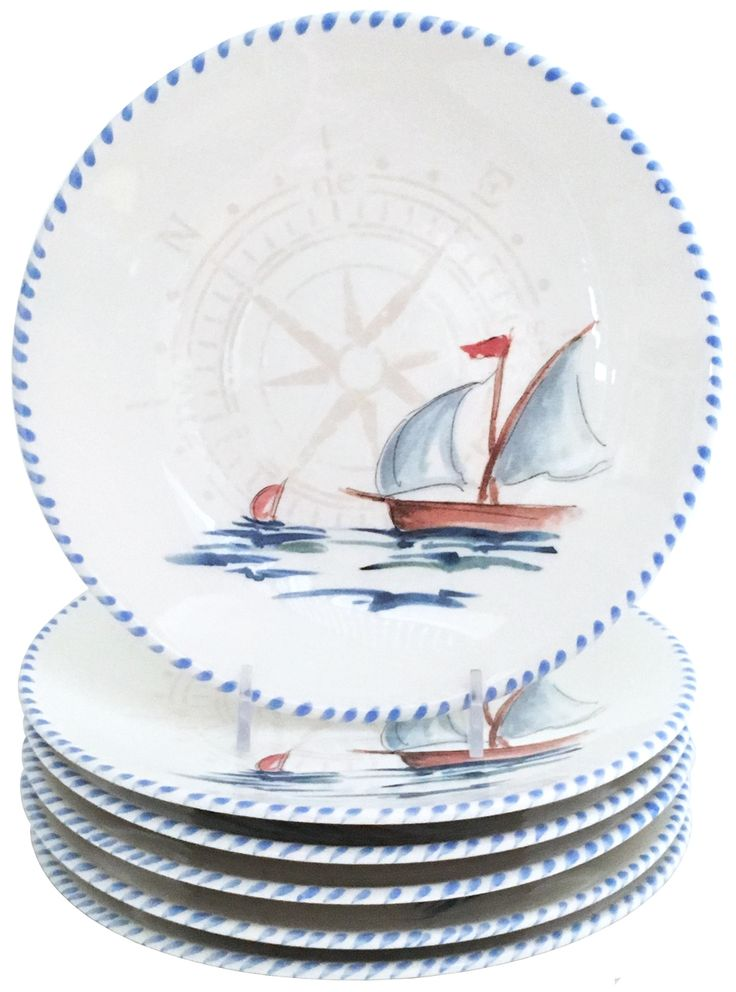 Uniquely hand crafted nautical dinnerware for your beach or lake home dining experience, the Sailboat Dinner Plates will showcase your gourmet talents! Created in Italy with hand painted sailboats and