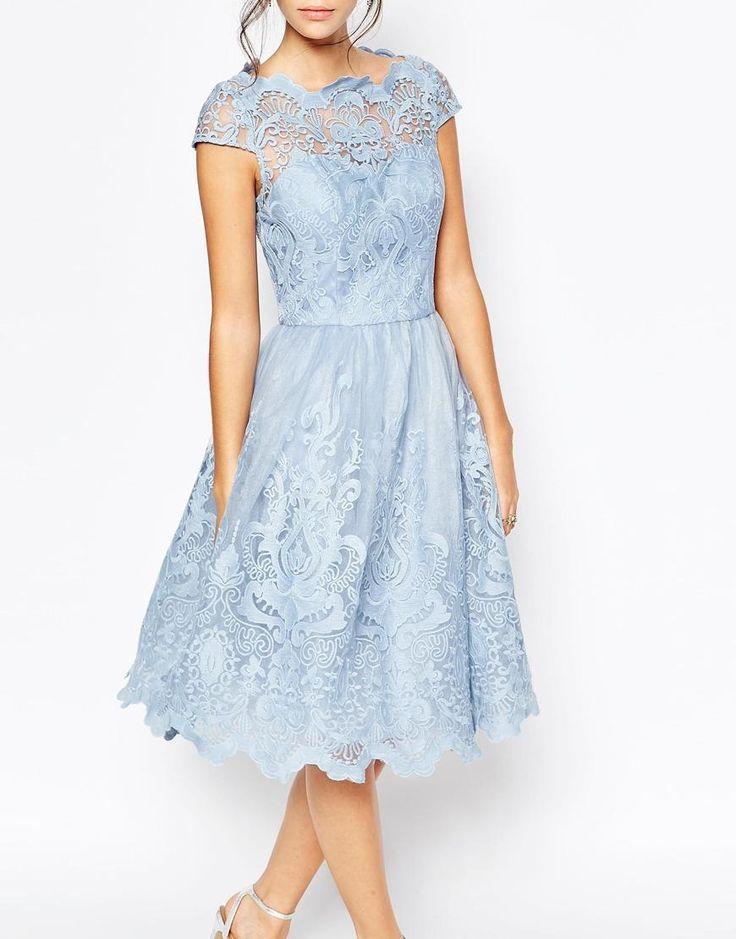 Chi Chi London | Chi Chi London Premium Lace Midi Prom Dress with Bardot Neck at ASOS