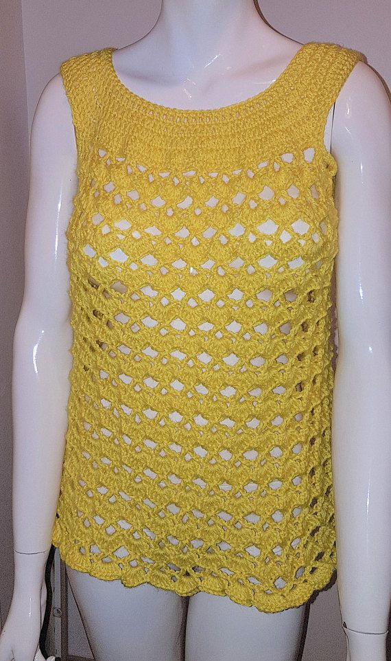 lovely handmade yellow swimsuit cover top  bikini cover t