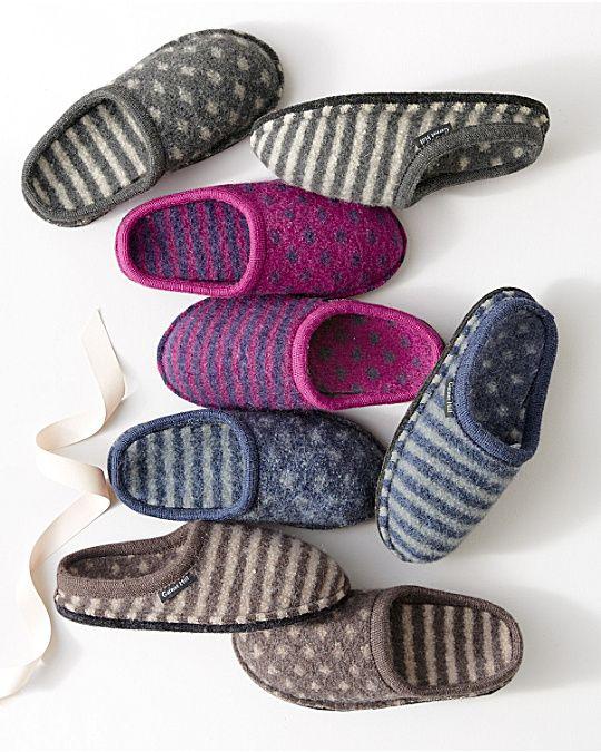 Haflinger Shirley Dot-and-Stripe Slippers