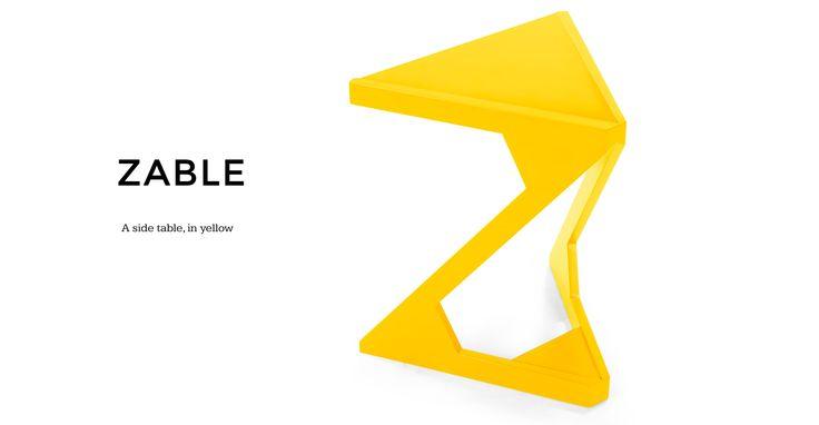 Zable Side Table, Yellow
