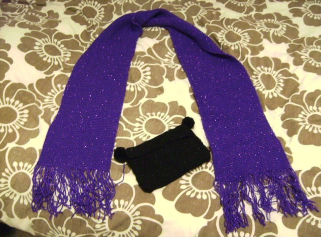 Sparkly purple scarf with black sparkly pompom clutch  Kimberley xx