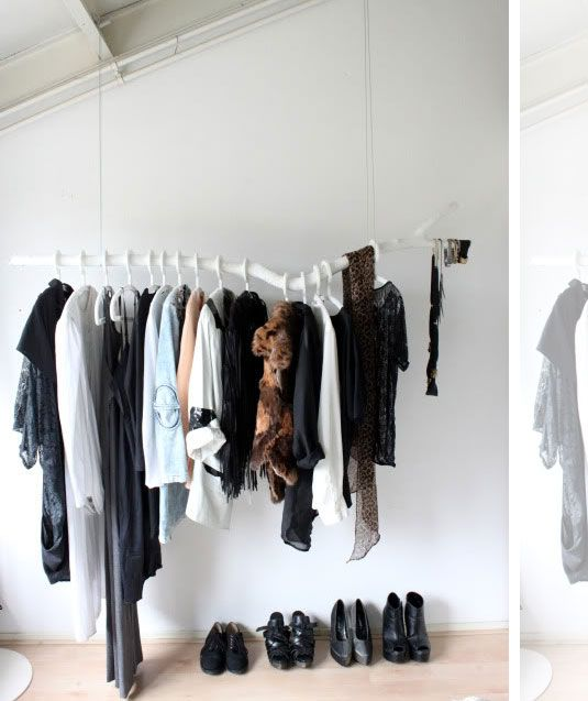 Branch clothes rod, for when you have neither money nor closets