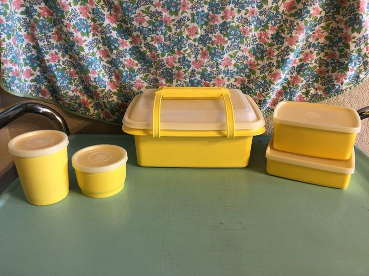 Vintage Tupperware Lunch Box Yellow 10 Piece Kit 1970s 1980s Kid    eBay