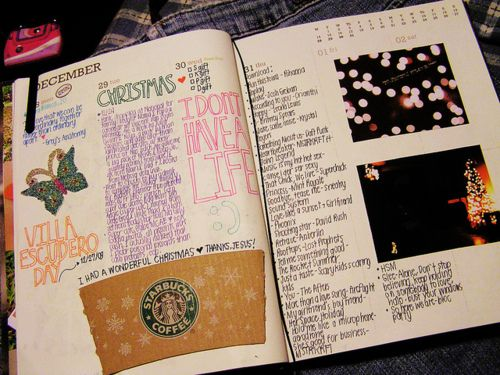 Scrapbooking in a Journal.  @Olivia García García Knight This is basically what we did with the notebook! I miss it :(
