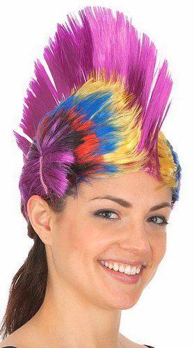 Rave Punk Rainbow Mohawk Wig Purple HALLOWEEN COSPLAY NEW #JHats #MulticolorMohawkWig