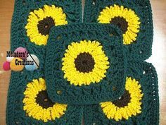 Sunflower Granny Square, free crochet pattern with right- and left-handed video tutorials by Meladora's Creations