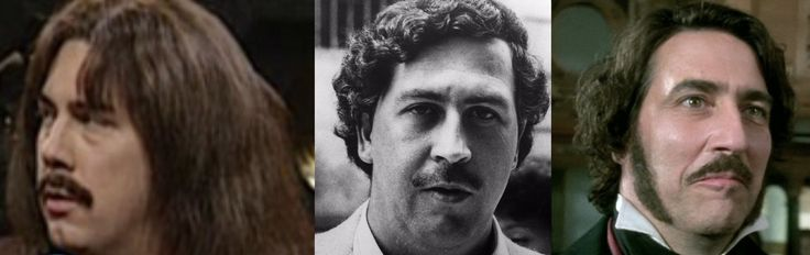 SNL alumni Chris Parnell (L) bears a resemblance to Columbian drug lord Pablo Escobar (Middle) - but only when he's wearing a wig and a mustache, of course... and the same could be said of Ciarán Hinds (R).