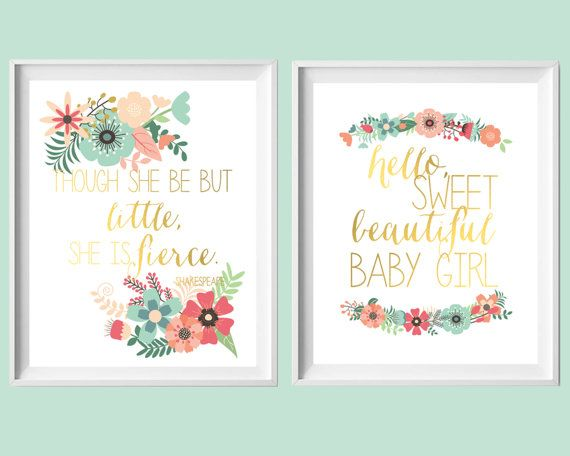 Pink Aqua Coral Nursery Art-Set of Two 8x10 by paperandpalette