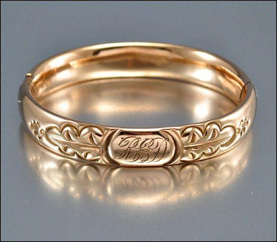 Antique Victorian Bracelet Bangle Rose Gold Engraved