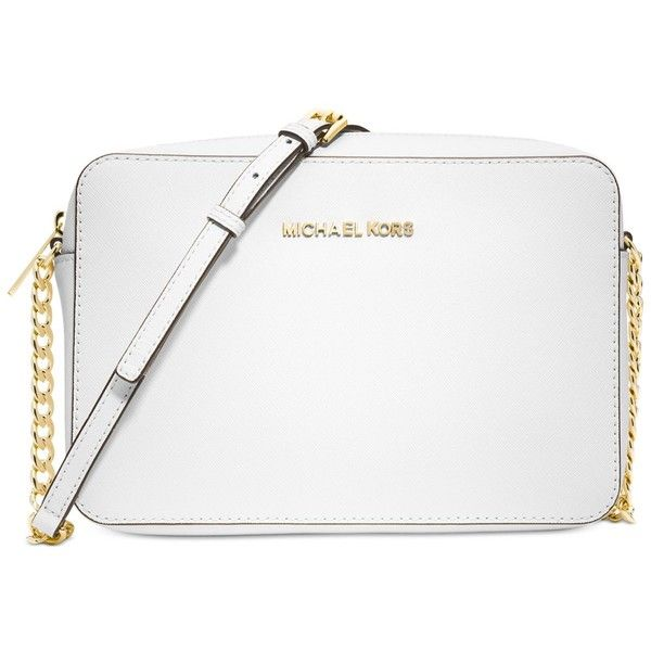 Michael Michael Kors Jet Set Travel Large Crossbody found on Polyvore featuring bags, handbags, shoulder bags, optic white, crossbody purse, travel shoulder bag, man bag, michael kors handbags and travel purse