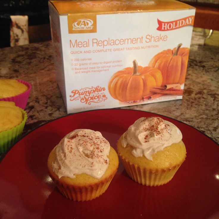 Protein Packed Pumpkin Cupcakes   - 2 pumpkin spice meal replacement shakes  - 1 cup gluten free pancake mix  - 3 Eggs, 2 egg whites  - 1/3 cup cold water  - 1/4 cup milk  - 1/4 cup applesauce   Frosting:  - plain greek yogurt  - peanut butter (to taste)  - vanilla (to taste)  - cinnamon sprinkled on top  1. Preheat oven to 350 2. Mix all ingredients in large bowl.  3. Pour in cupcake pan.  4. Bake 13-20mins until golden brown.  5. Let cool and frost.