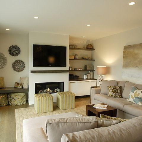 Image Result For Modern Living Room Fireplace Insert Tv Shelves On Either Side Decor