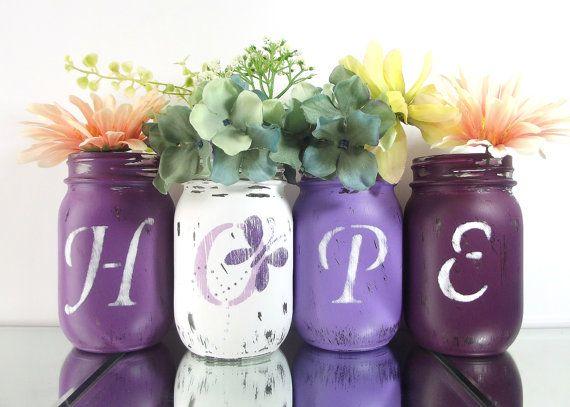 HOPE Purple Vase Set Hand Painted Mason Jars by curiouscarrie