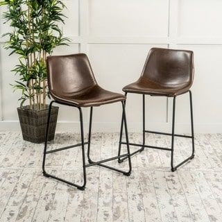 Shop for Cedric Faux Leather Counter Stool (Set of 2) by Christopher Knight Home. Get free shipping at Overstock.com - Your Online Furniture Outlet Store! Get 5% in rewards with Club O! - 18900818
