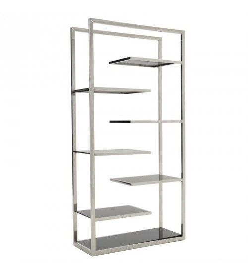 STAINLESS STEEL FLOOR SHELF IN SILVER COLOR W_BLACK GLASS 90X36X180