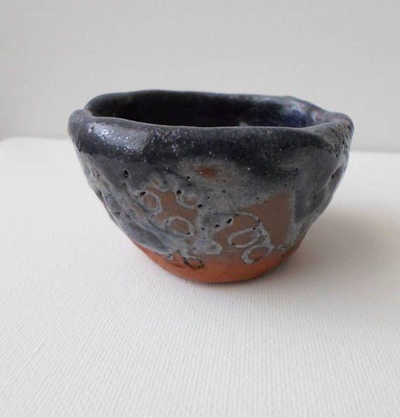 Blue Pinch Pot Small Handmade Pottery Housewarming Gift