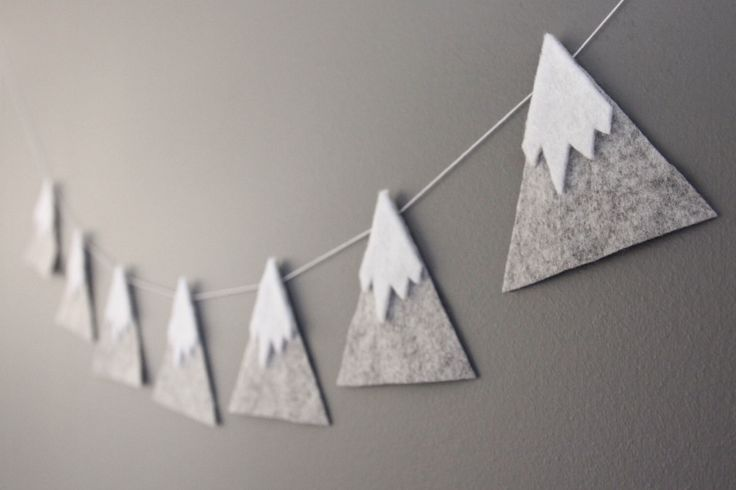 Felt Mountain Snowy Peaks Garland, Baby Nursery and Childrens Decor, Baby Shower Gift by madebyclairelouise on Etsy https://www.etsy.com/listing/227021208/felt-mountain-snowy-peaks-garland-baby