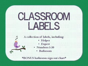 Colourful labels in TWO different sizes to add some order and style to your classroom!With your purchase you will receive two set of labels. The bigger set is perfect for labelling desks, pylons, bins, or areas of the classroom. The second smaller set could be used to create tags on string for children to wear.