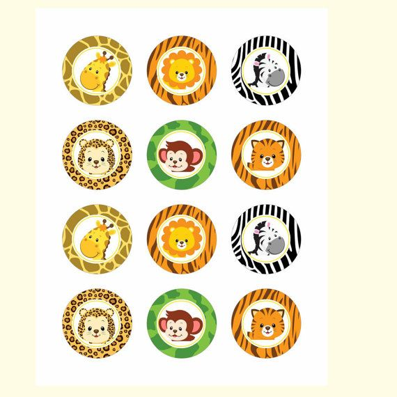 Safari cupcake toppers Safari baby shower by DreamyPartyPrintable