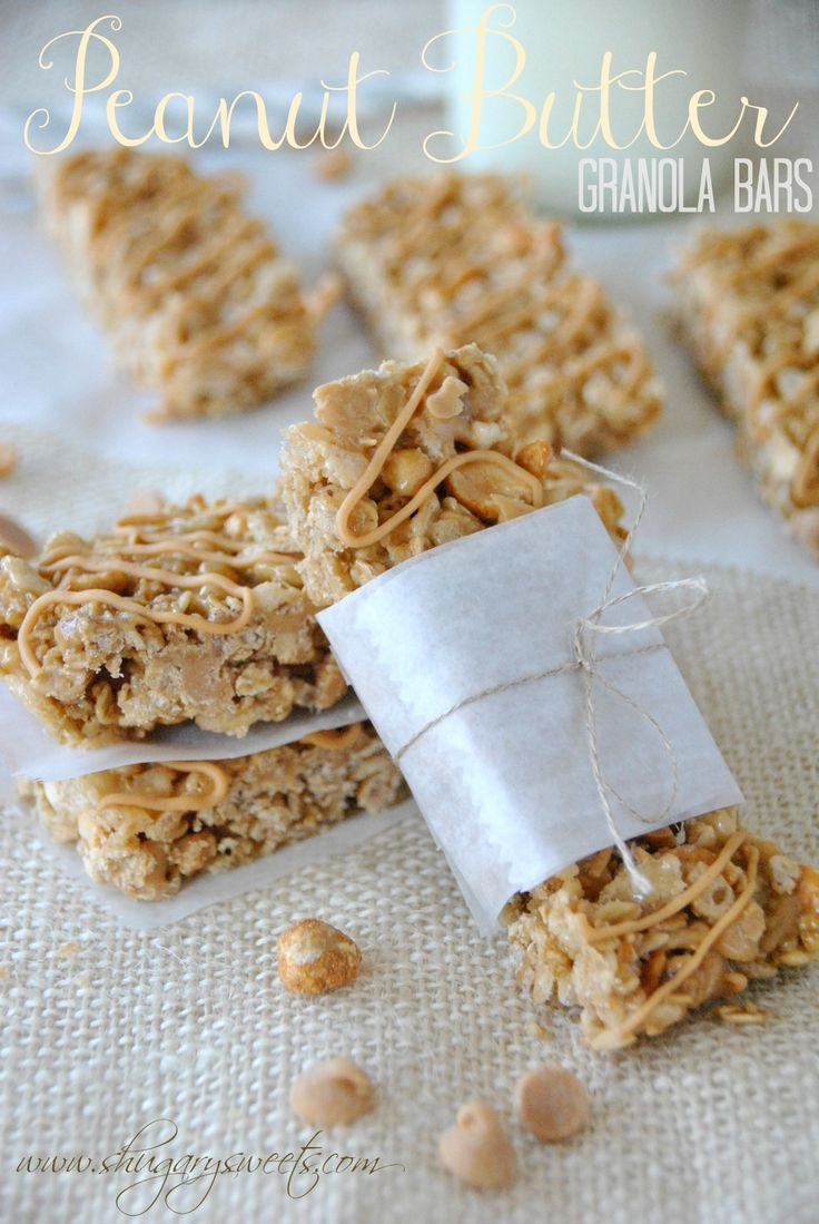 Peanut Butter Granola Bars - www.shugarysweets.com