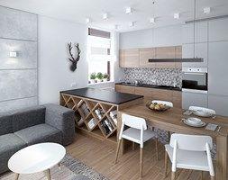 Szarość ocieplona drewnem - Mała kuchnia - zdjęcie od HOME & STYLE