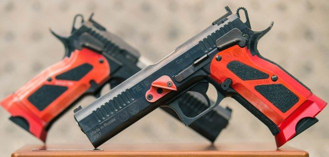 """Russian company """"Souz TM"""" (a.k.a STM Arms) has introduced a new competition pistol called PE-10 (ПЕ-10). It is specially designed for practical shooting competition use – IPSC Standard division (major power factor). The pistol is chambered in .40 S&W with 17 round capacity. Itfeeds from CZ-75 ТS pistol magazines. The company is a new one …   Read More …"""